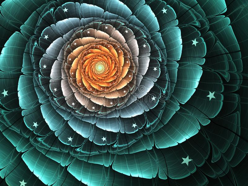 Dark fractal flower stock illustration