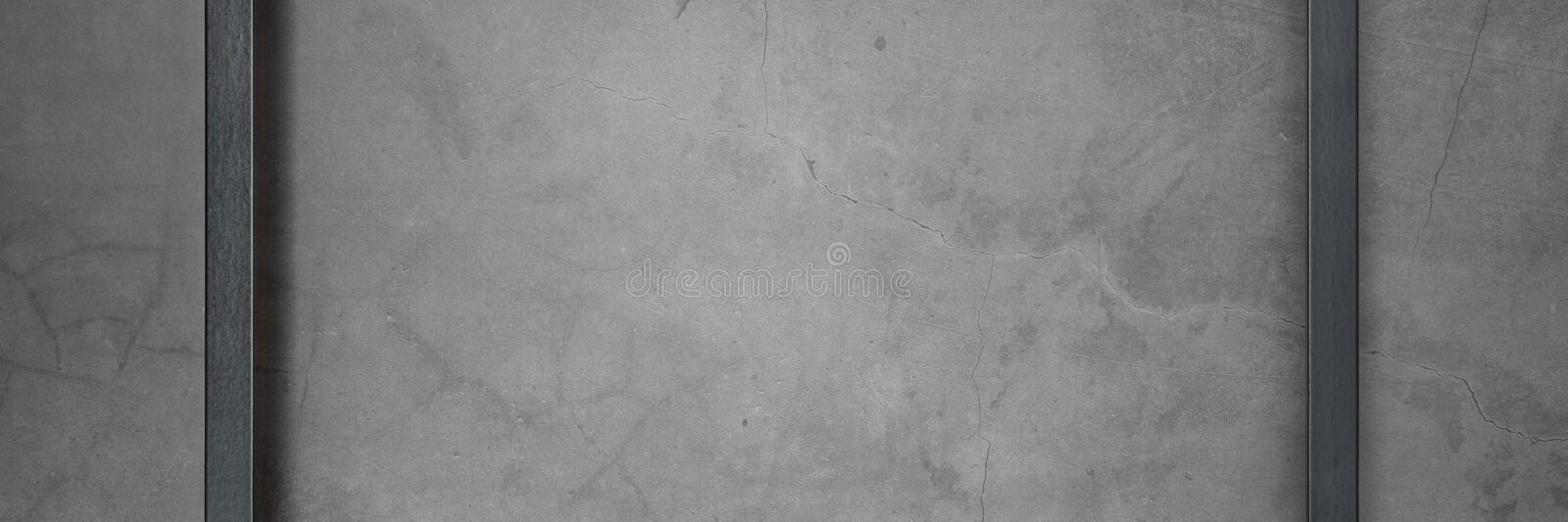 Dark frame for painting on a gray cement textured background royalty free stock images