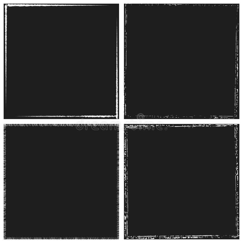 Dark Frame Set. Black square shape distress overlay frame background set. Abstract Grunge dark dirty backdrop. Used aged border template. Shabby edge basis royalty free illustration