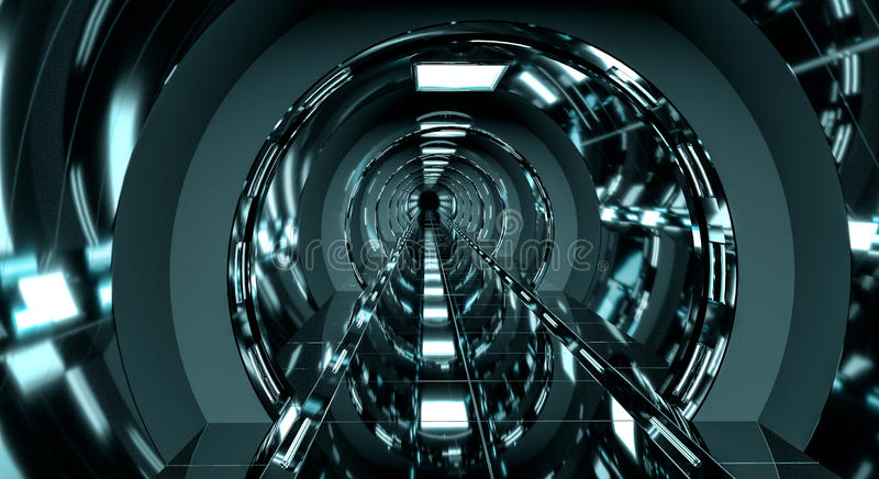 Dark futuristic spaceship corridor 3D rendering stock illustration