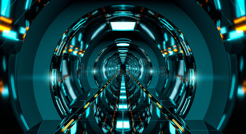 Dark futuristic spaceship corridor 3D rendering royalty free illustration