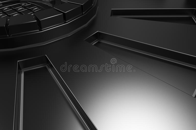Dark futuristic technological background with glowing lines. Dark futuristic technological background made from extruded shapes with glowing lines. Abstract royalty free illustration
