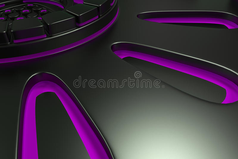 Dark futuristic technological background with glowing lines. Dark futuristic technological background made from extruded shapes with glowing lines. Abstract vector illustration