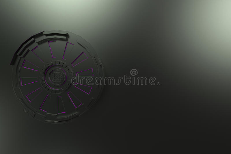 Dark futuristic technological background with glowing lines. Dark futuristic technological background made from extruded shapes with glowing lines. Abstract stock illustration