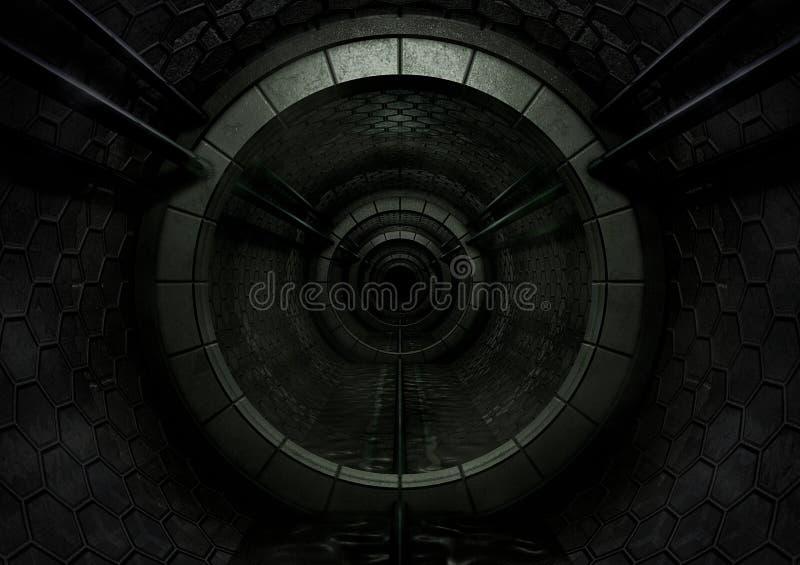 Dark Futuristic Tunnel stock illustration