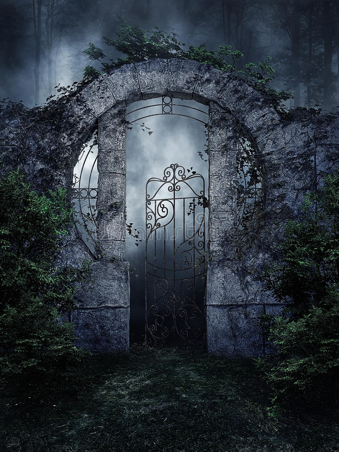 Dark garden gate. With vines and shrubs at night vector illustration