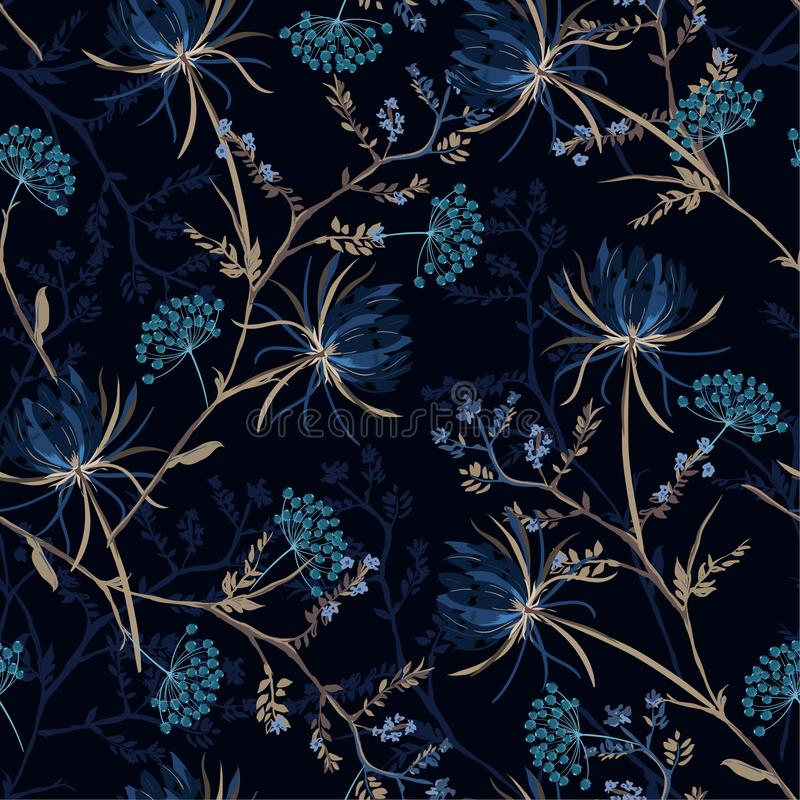 Dark garden night monotone blue color Seamless pattern of soft. And graceful oriental blooming flowers,botanical vector design for fashion,fabric,wallpaper,and stock illustration