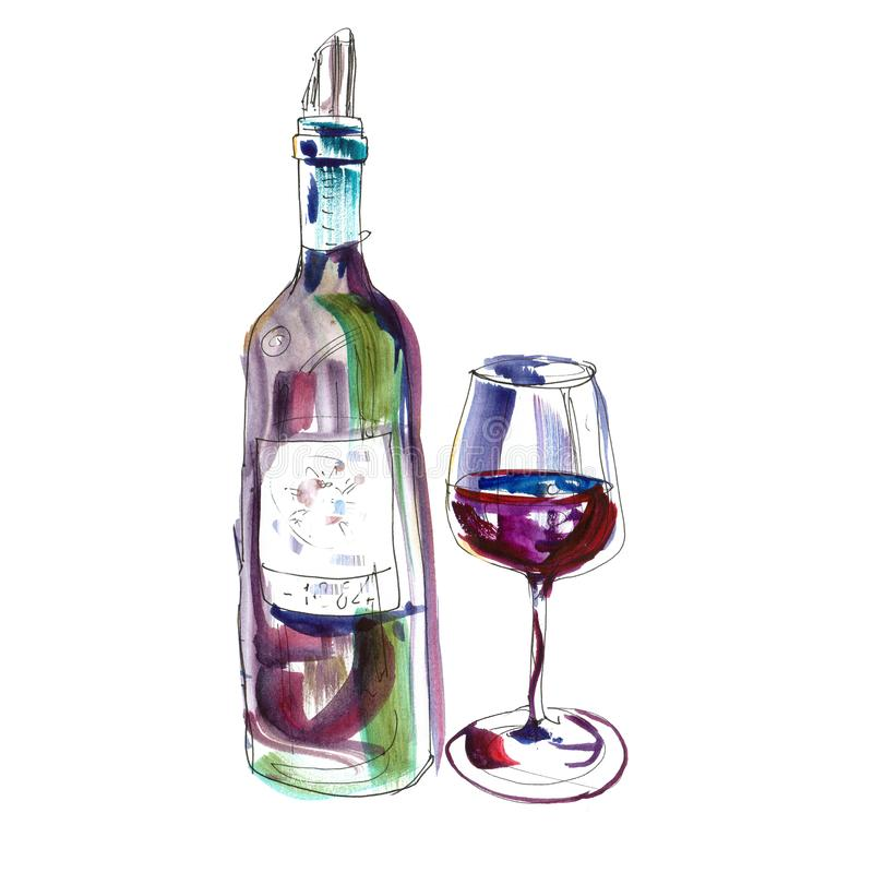 Open red wine bottle and glass ink and watercolor illustration. Isolated on white background. Hand drawn sketch royalty free illustration