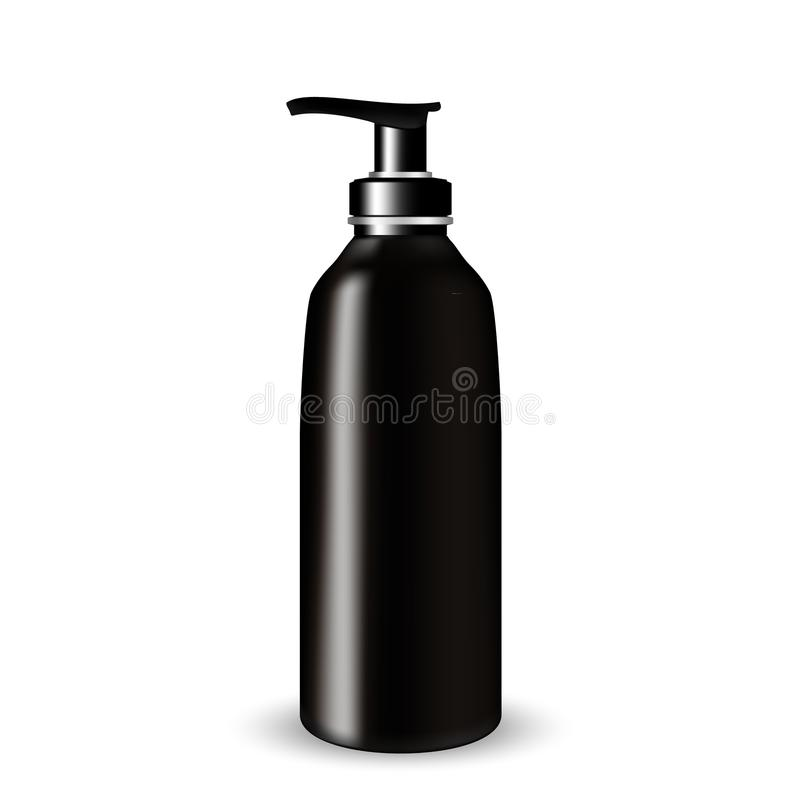 Dark Glass Cosmetic Bottle beauty products with black pump lid on white isolated background. vector illustration