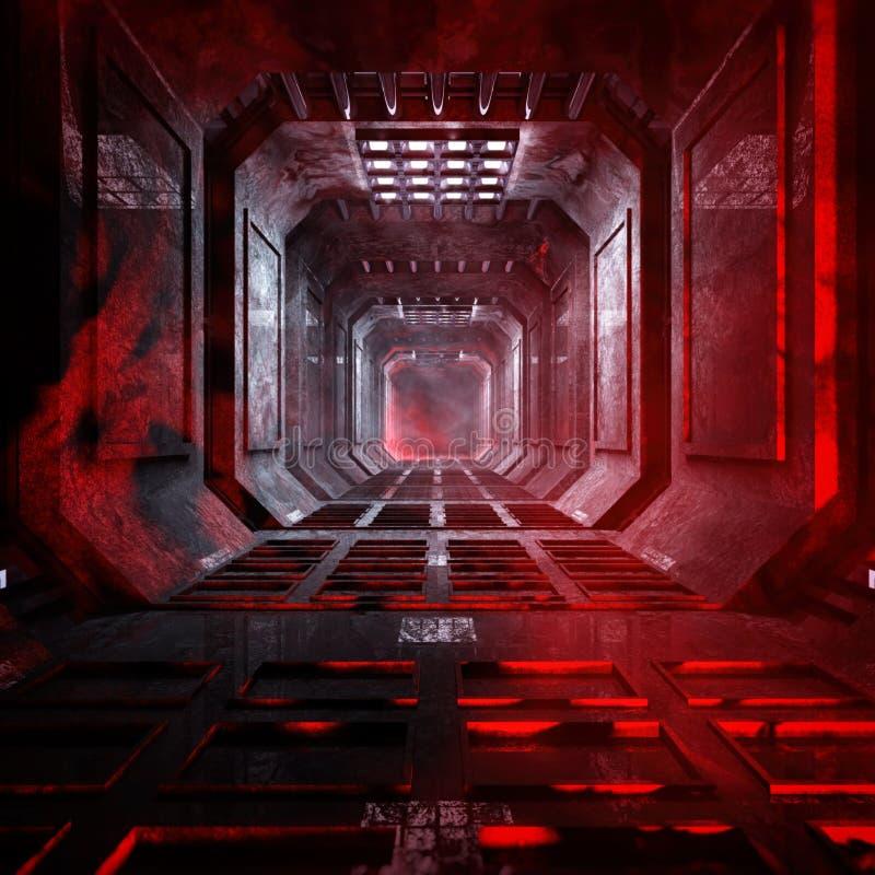 Dark And Gloomy Science Fiction Corridor Environment royalty free stock photos