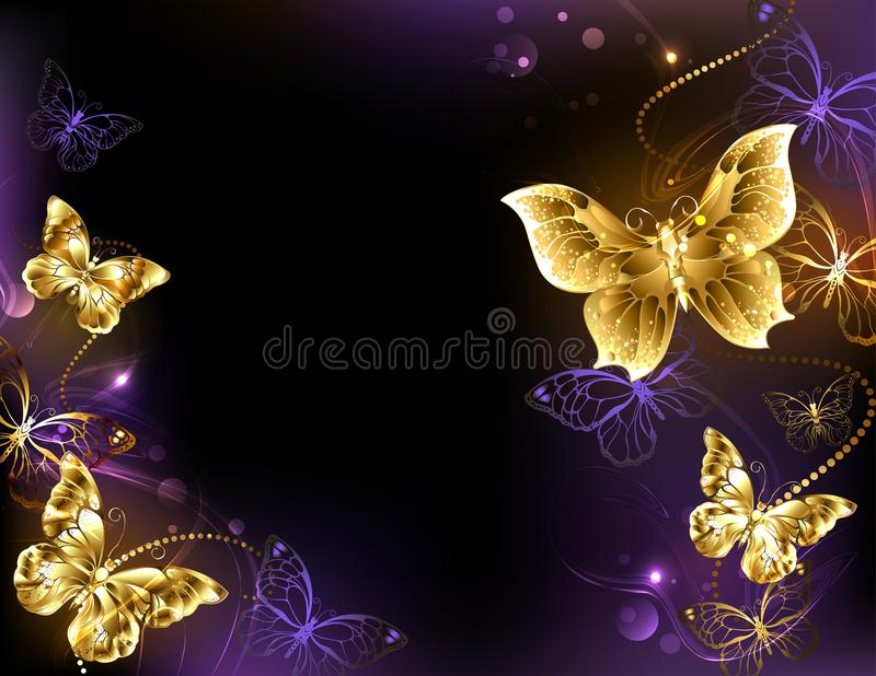 Background with gold butterflies. Dark glowing background with gold, jeweled butterflies. Design with gold butterflies stock illustration