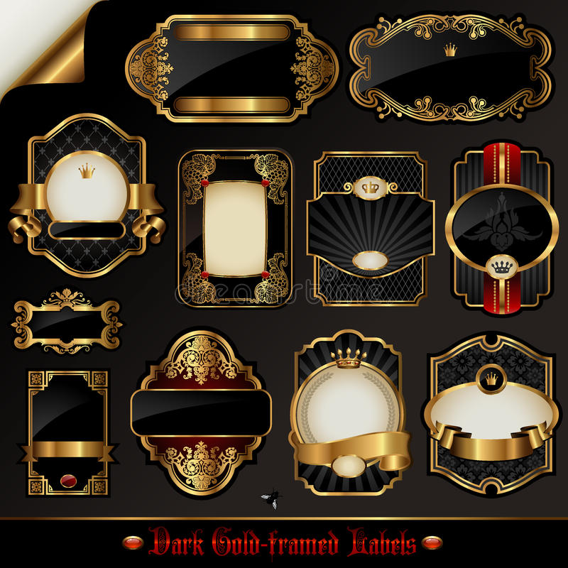 Dark Gold-framed Labels Royalty Free Stock Image