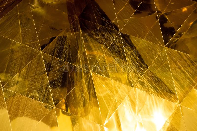 Dark Gold geometric shapes glass abstract texture and background stock illustration