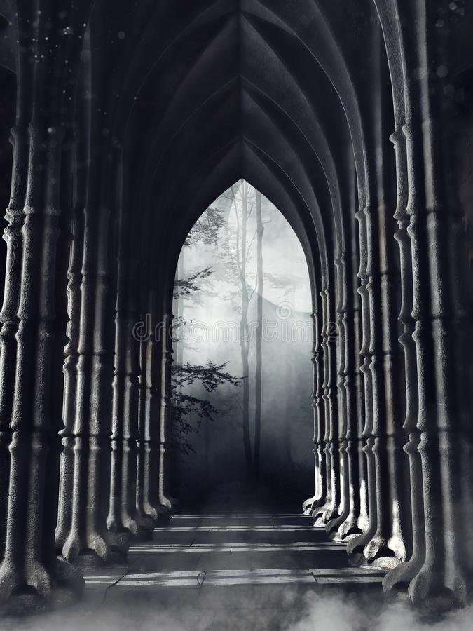 Dark gothic corridor with columns. Leading to a forest at night vector illustration