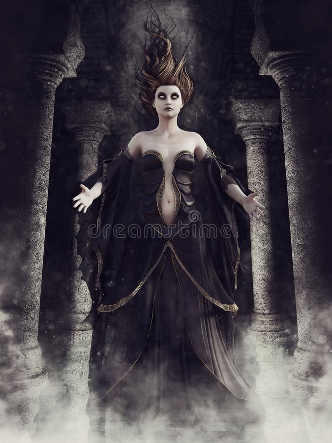 Ghost sorceress in a crypt. Dark gothic crypt with columns and a ghost sorceress floating in a cloud of mist royalty free illustration
