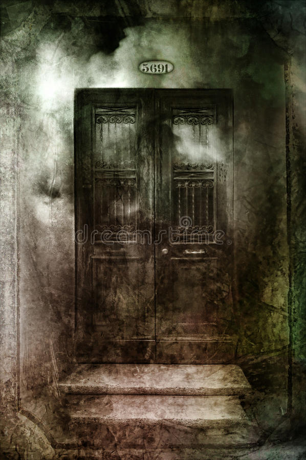 Dark gothic doors. With grungy textures royalty free stock images