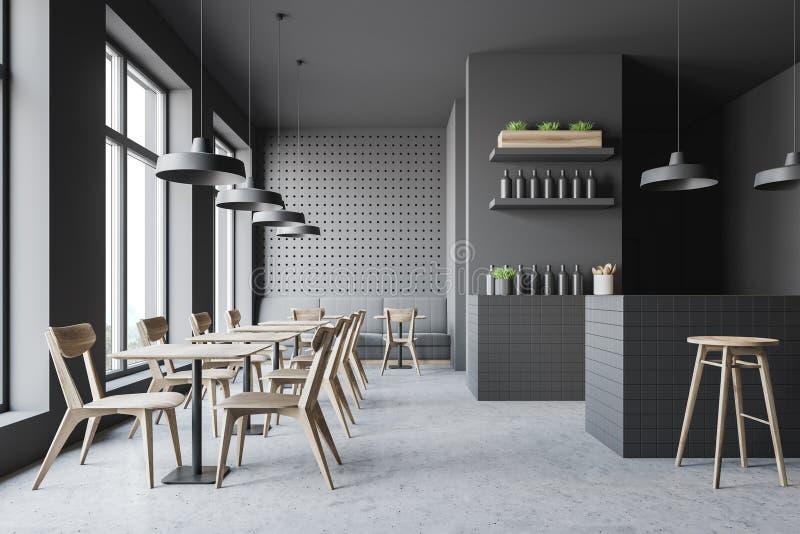 Dark gray bar interior with sofa royalty free illustration