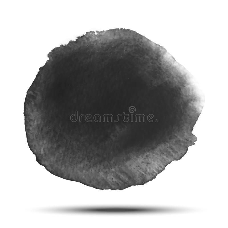 Dark gray black watercolor vector circle stain isolated on white background with realistic paper watercolor texture. Dark gray black transparent watercolor vector illustration