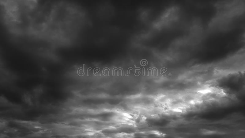 Dark gray dramatic sky whith clouds summer cloudscape natural background no people empty blank template royalty free stock image