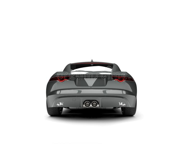 Dark gray metallic modern sports concept car - back view. Isolated on white background vector illustration