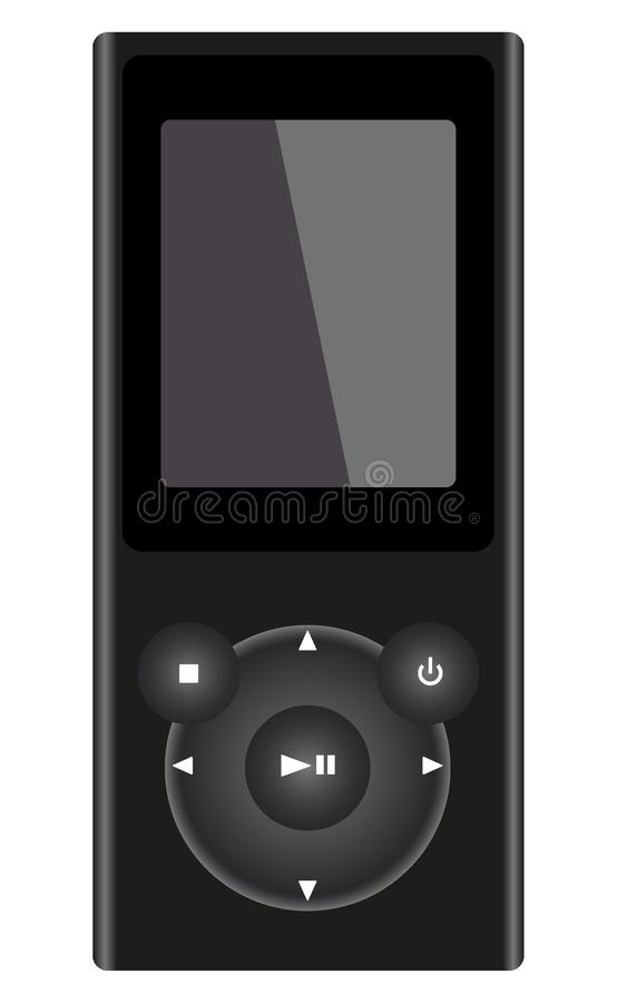 Dark gray MP3 Player with headphones, isolated on white background. stock illustration