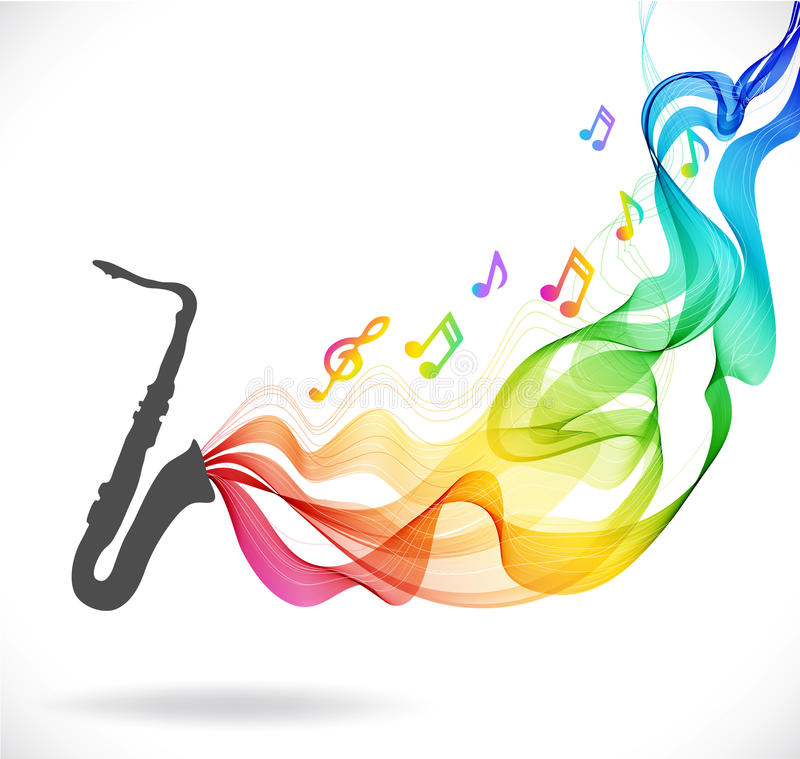 Dark gray saxophone icon with color abstract wave stock illustration