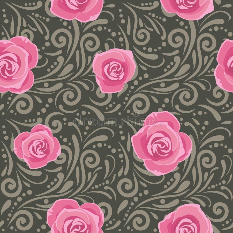 Dark gray seamless decorative pattern with pink roses royalty free stock photography