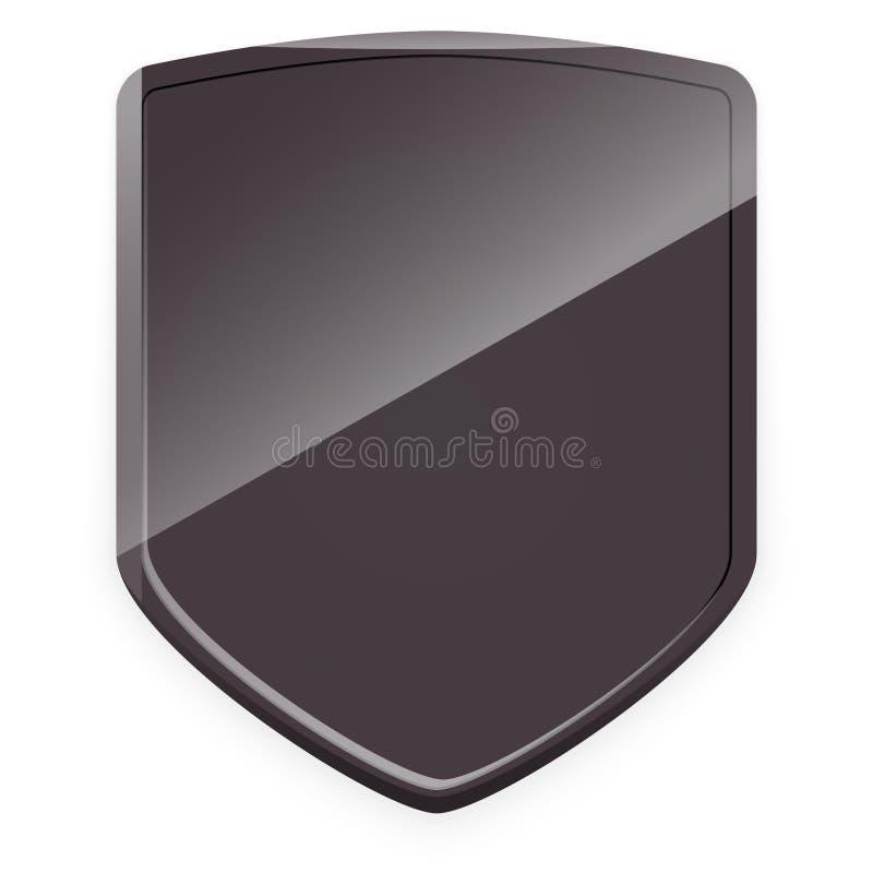 Dark gray shield. Raster vector illustration