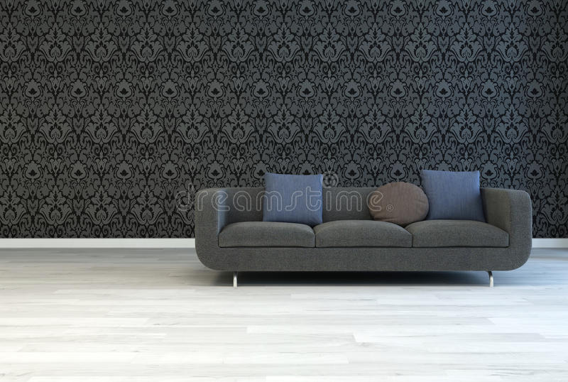 Dark Gray Sofa on an Architectural Lounge Room royalty free illustration