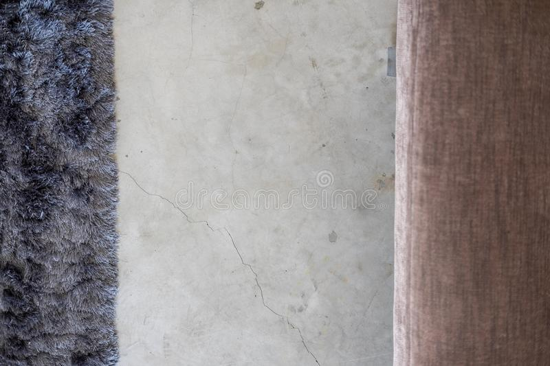 Dark gray soft carpet cement floor from above stock images