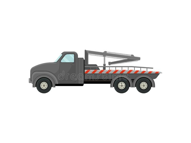 Gray tow truck with a stripe. Vector illustration on white background. stock illustration