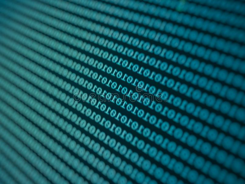 green background with binary code numbers. Data Breach, Malware, Cyber Attack concept stock illustration