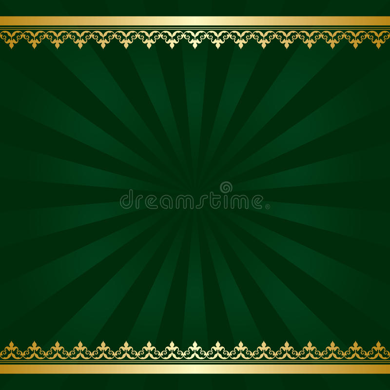 Dark green vector background with golden decorations and rays royalty free illustration