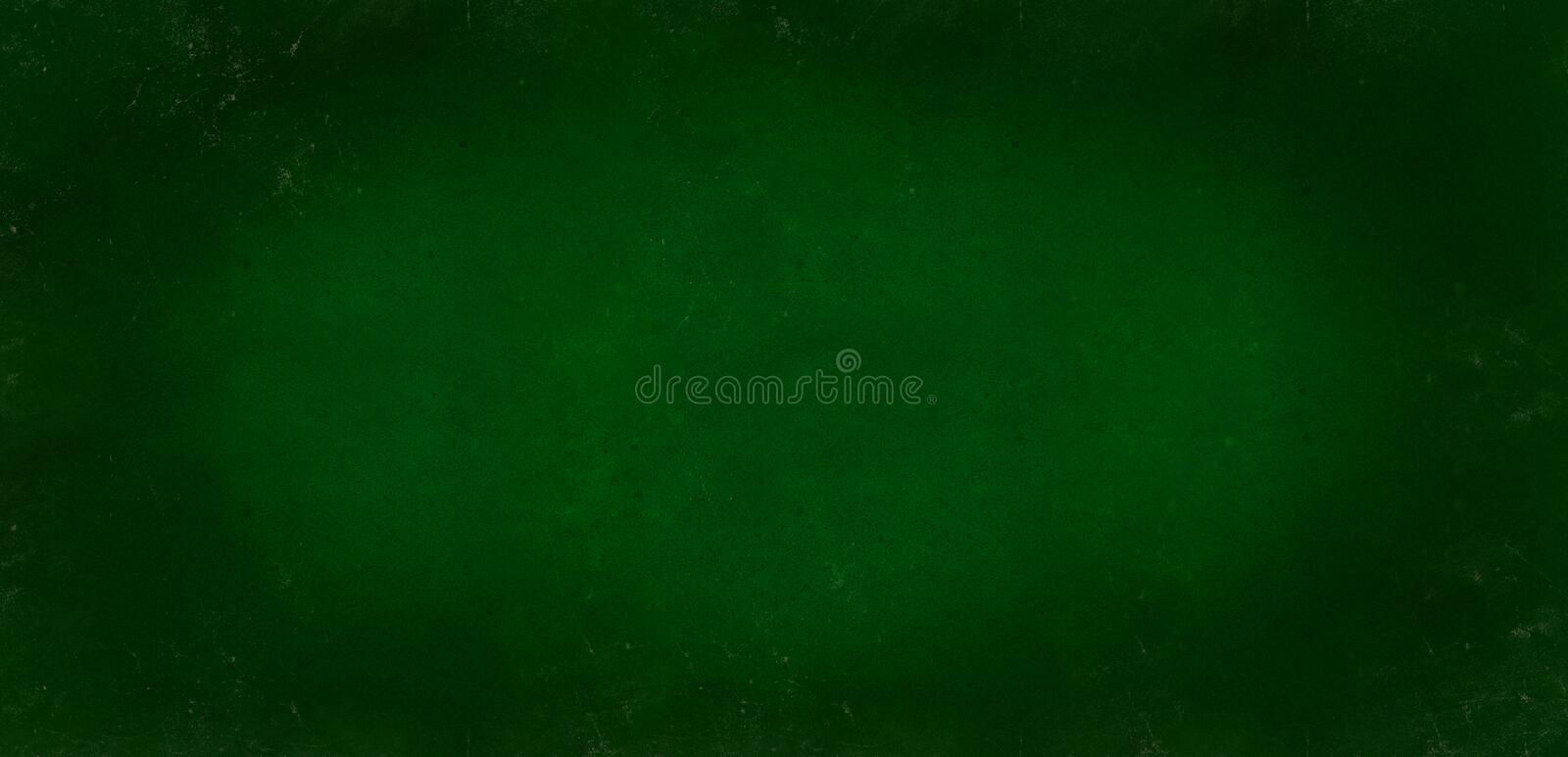 Dark green background of school blackboard colored vignetted texture. Dark green black shabby texture. Long format royalty free stock photography