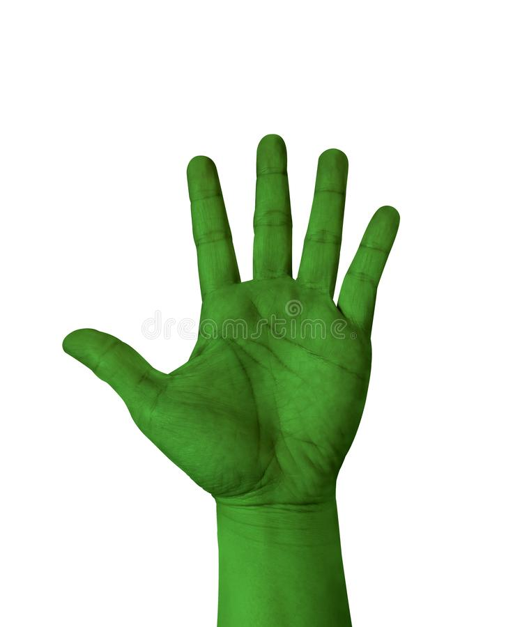 Dark green color hand show five finger isolated on white background, hand raised Hand stock images