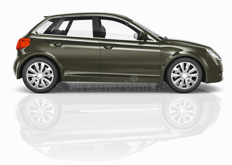 Dark Green 3D Hatchback Car Illustration vector illustration