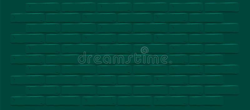 Dark green emerald brick wall texture. Cracked empty background. Grunge wallpaper. royalty free stock photography