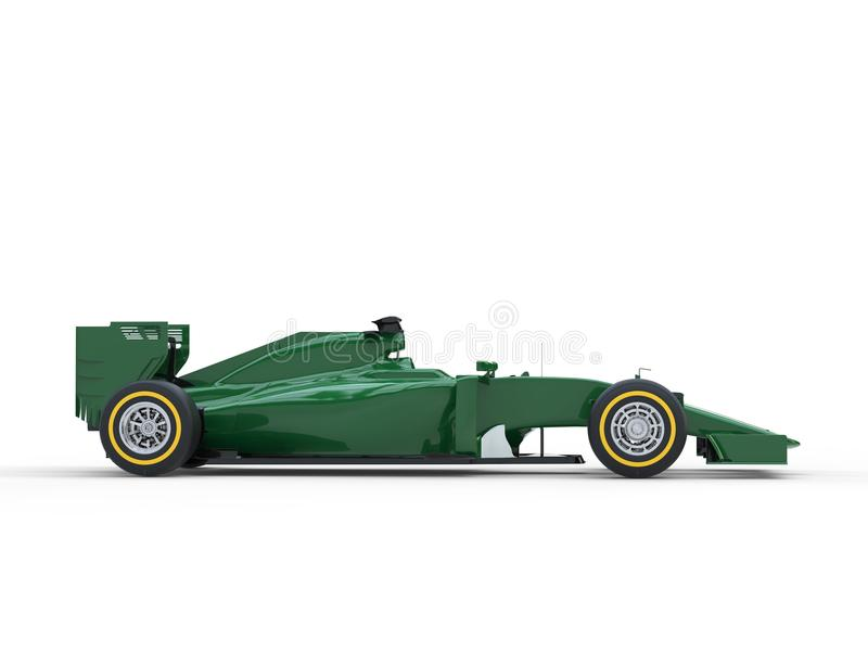 Dark Green Formula One Car - Side View. Isolated on white background royalty free stock photos