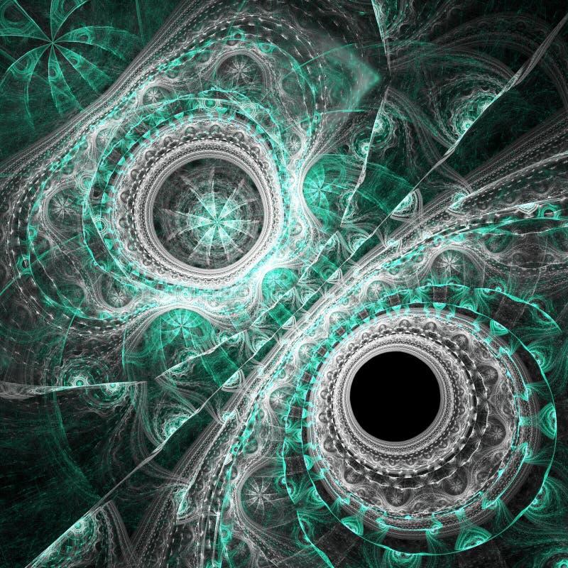 Dark green fractal clock stock illustration