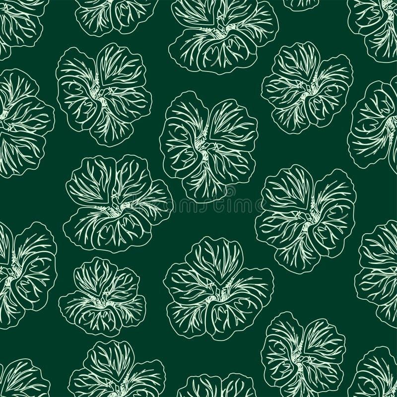 Dark Green Hibiscus flower print. Gorgeous nasturtium. Floral Pattern. Trendy seamless background. Fashion Texture. Line drawing. Vector botanical illustration vector illustration