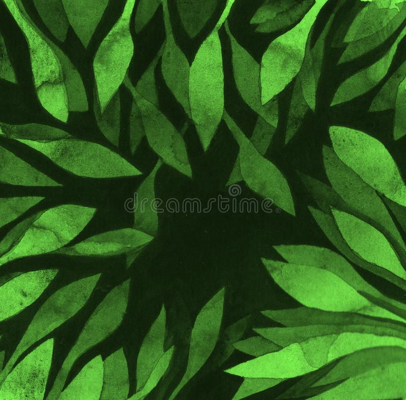 Dark green leaves frame with splashes - watercolor monochrome negative space painting. Hand drawing template. royalty free illustration