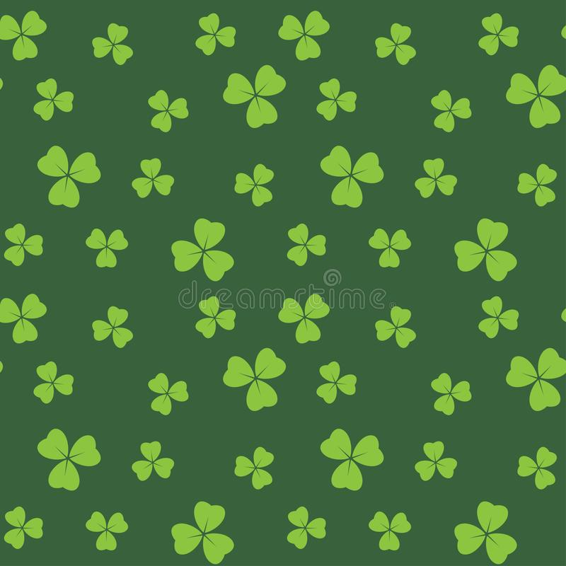 Dark green seamless pattern with bright green shamrock leaves - vector background royalty free illustration