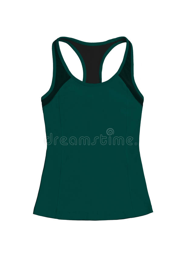 Dark green teal sports top, isolated on white background royalty free stock photography