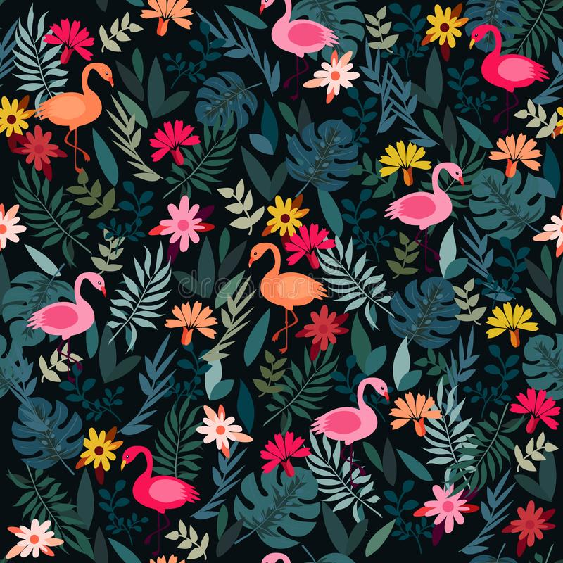 Dark green tropical jungle palm tree leaves. Pink exotic flamingo wading birds. Seamless pattern texture on black background. stock illustration