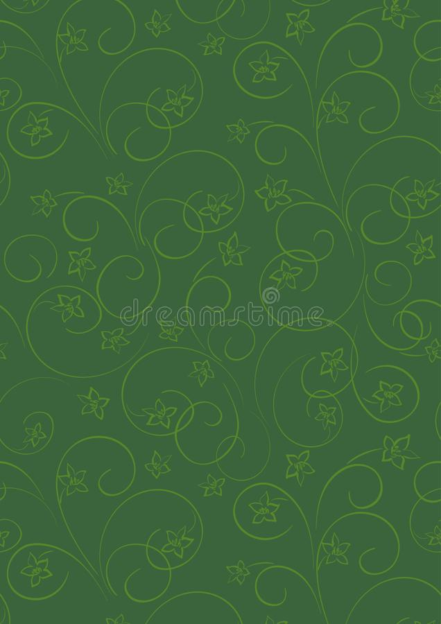 Dark green vector floral background a4 format stock illustration