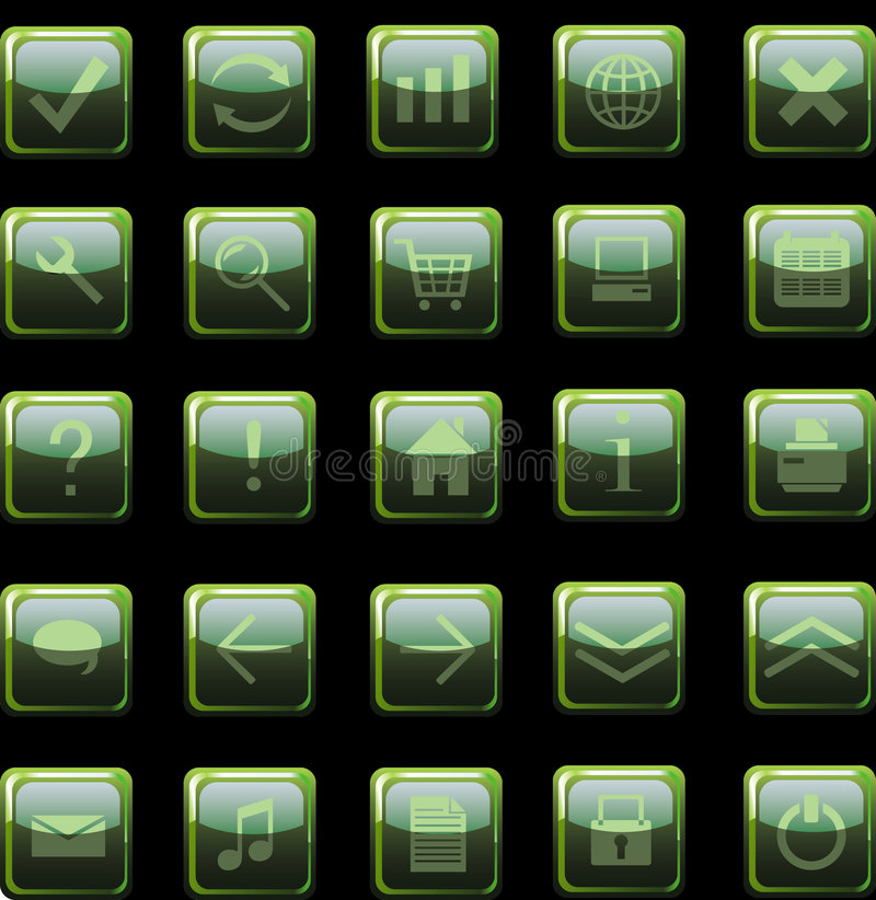 Dark green web icons, buttons