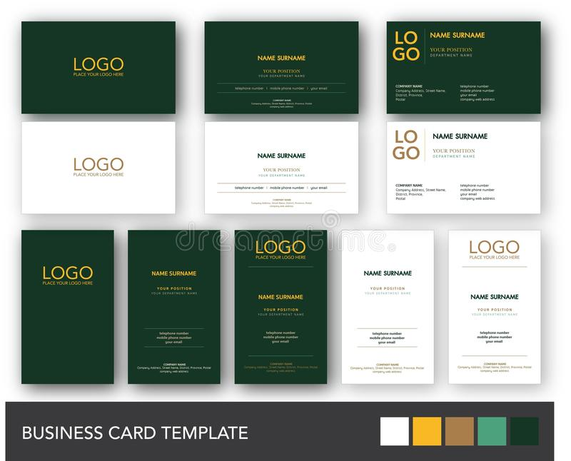 Dark Green and Yellow Gold Business Card Template. Modern and luxury business card template with dark green and yellow gold scheme. Available in both portrait vector illustration