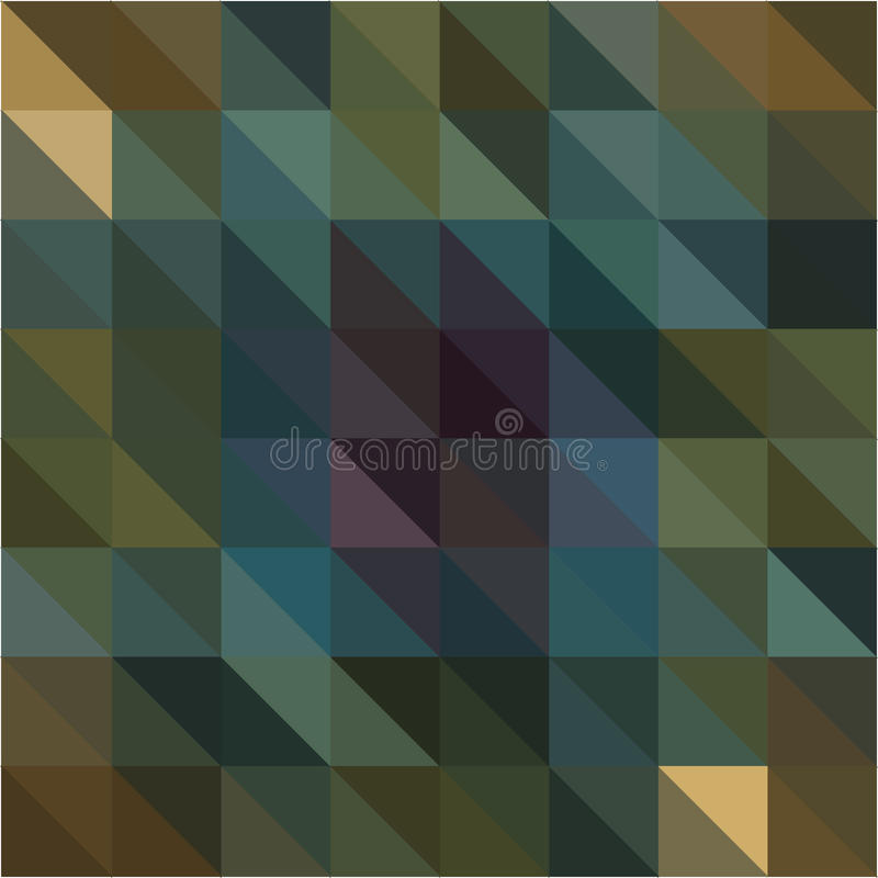Dark green yellow triangle and square geometric shapes background stock illustration