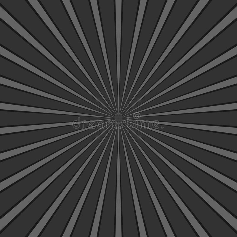 Dark grey abstract geometrical ray burst background - retro vector graphic with radial lines royalty free illustration