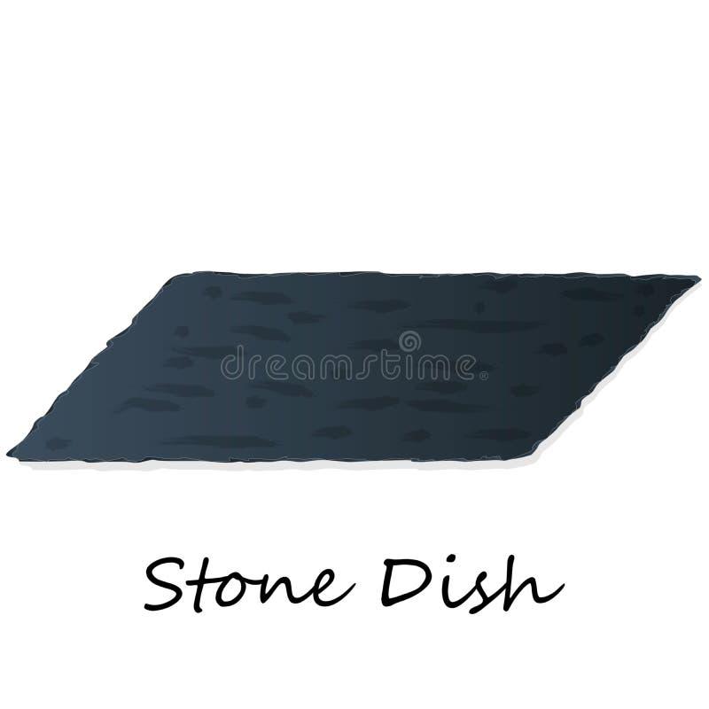 Dark Grey Black Slate Board for Dishes on White Background. Isolated stock illustration